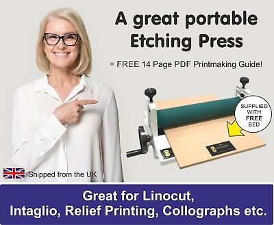 £199 • Buy Etching Printing Press For  Intaglio, Collograph, Linocut, Mono 👉 FREE BED 👈