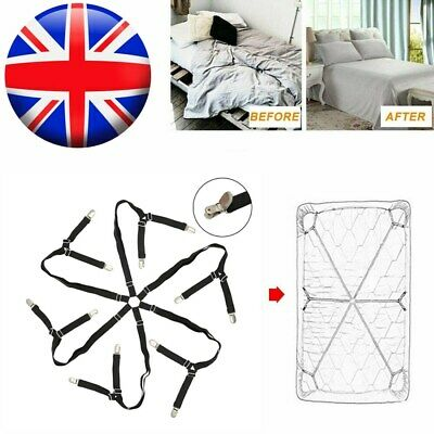 £8.19 • Buy Adjustable Bed Sheet Grippers Clips Holders Set Fitted Straps Clippers Fastener