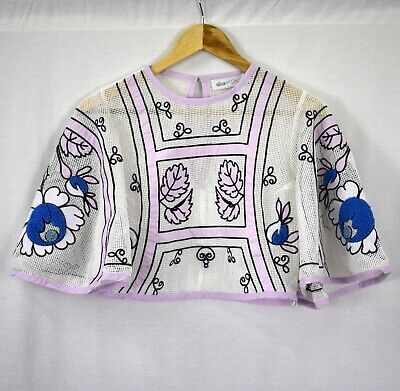 AU65 • Buy Alice McCall White Mesh Flare Sleeve Cropped Dream Weaver Top Size 12