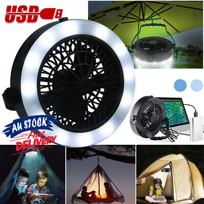 AU23.36 • Buy 3 In 1 USB Portable Tent Lamp For Outdoor Camping Rechargeable With Hook LED Fan