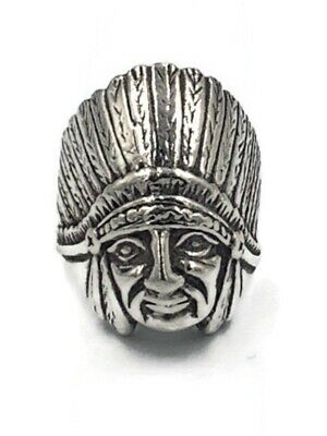 £39.86 • Buy 925 Sterling Silver Indian Chief Head Men's Ring 11.8 Grams Size 8.5