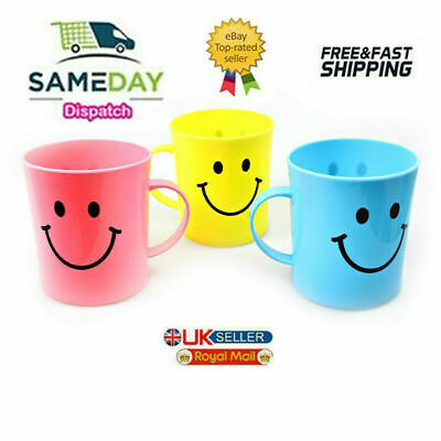 £6.95 • Buy Emoji Faces Childrens Plastic Serving Cups Mugs Assorted 4 Pack QUALITY New