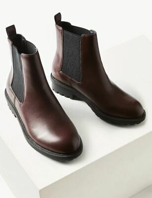 £20.99 • Buy P BNWT M&S Burgundy Faux Leather Chunky Heel Chelsea Ankle Boots UK 4      (LCY)