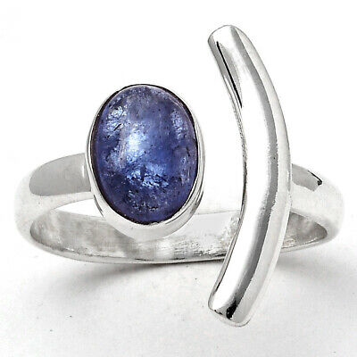 £13.16 • Buy Crescent Moon Natural Tanzanite Cab 925 Sterling Silver Ring S.8.5 Jewelry E805
