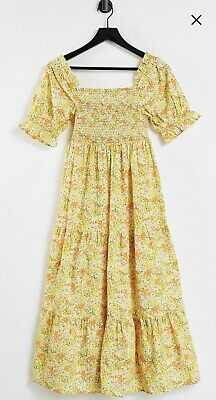 AU21.50 • Buy ASOS Influence Maternity Floral Tiered Cotton Smock Dress Orange Yellow 8