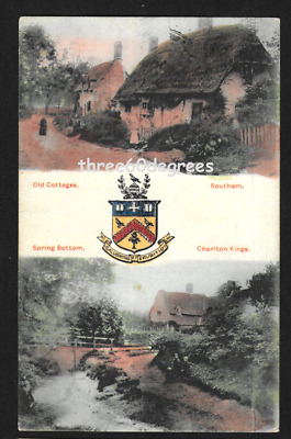 £4.50 • Buy Vintage Postcard: Arms Of  Cheltenham.  Southam Old Cottages. Charlton Kings