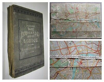 £45 • Buy Circa Early 1900's Philip's Tape Indicator Map Of London LINEN BACKED COLOUR MAP