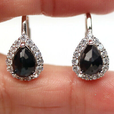 AU14.14 • Buy Natural Heated Blue Sapphire & White Cz 925 Sterling Silver Earrings