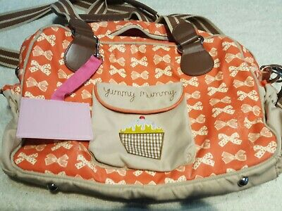 £15.99 • Buy Yummy Mummy Baby Changing Bag Pink Lining Red Bows Nappy Changing Bag Used