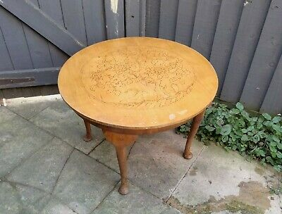 £34.99 • Buy Vintage Real Wood Round Side Coffee Table With Poker Work Pyrography Tree Design
