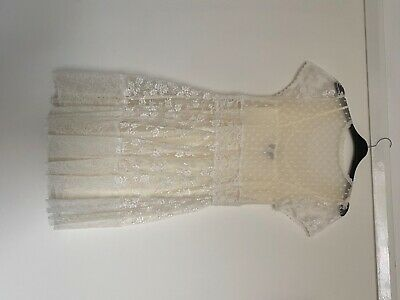£9 • Buy Topshop Dress 10 New Without Tag In Cream Lace Colour With Silk Slip Inside .