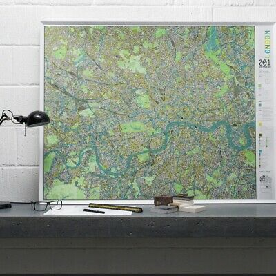 £0.01 • Buy Large Magnetic Wall Map Of London, The Future Mapping Company, Metal Framed