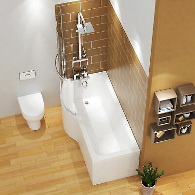 £204.99 • Buy 1700mm P Shaped Left Hand Shower Bath Bathtub Front & End Panel With Rail Screen