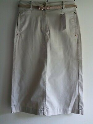 £7.99 • Buy Marks And Spencer Per Una Beige Cotton Chino Skirt With Belt Size 6 BNWT
