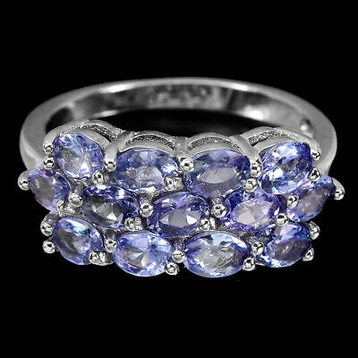 £13.48 • Buy Unheated Oval Tanzanite 4x3mm 14K White Gold Plate 925 Sterling Silver Ring 7