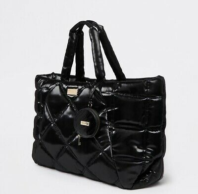 £29.99 • Buy River Island Black Quilted Shopper Tote Shoulder Bag & Coin Purse NEW £55