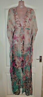 £19.99 • Buy *river Island* Gorgeous Floral Lily Sheer Sparkle Long Kimono Kaftan Towie Lucy