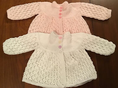 £7.95 • Buy Hand Knitted Baby Clothes White & Shell Pink Matinee Baby Jackets.