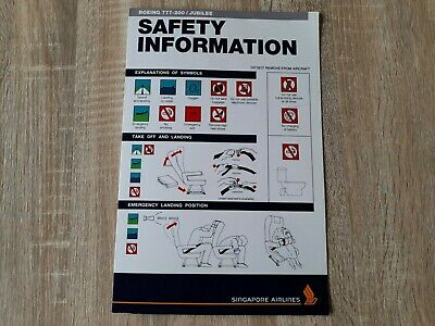 AU19 • Buy Singapore Airlines Boeing 777-200 Jubilee In-flight Safety Instructions Card