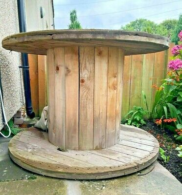 £100 • Buy Large Wooden Cable Reel Drum Round Dining Party Pub Table