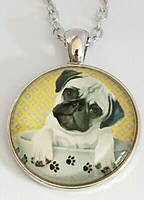 £4.45 • Buy 🐾 Cute Pug Dog Necklace Dog In A Cup With 🐾 Cabachon Pendant Necklace 19