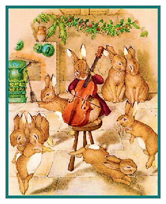£7.08 • Buy Bunnies Make Music Christmas Party Beatrix Potter Counted Cross Stitch Pattern