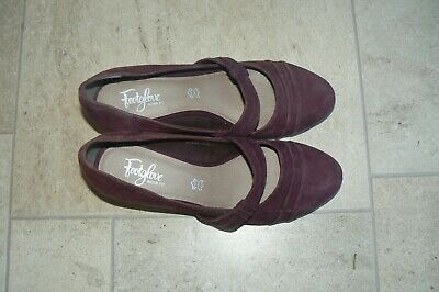 £15.99 • Buy 'mary Jane' Footglove Size 7 Wide Berry Suede Heeled Shoes Bnwt Rrp £39.50 M & S