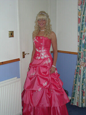 £99.99 • Buy Stunning Pink Prom, Ball, Bridesmaids Dress Or Evening Gown Size 10