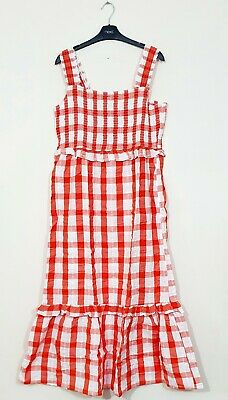 £19.99 • Buy Lipsy Red Gingham Cotton Strap Smock Midi Dress Size 16 BNWT RRP £42 Holiday
