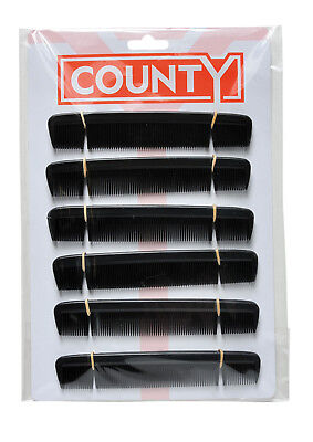 £2.99 • Buy County 6 Gents Mens Pocket Hair Combs Black Plastic 12 On A Card