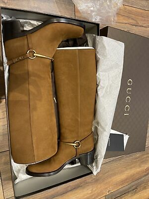 £250 • Buy Gucci Knee Length Tan Leather Boots Size Very Large 38 More Like UK Size 6