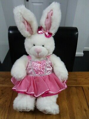 £5.99 • Buy Build A Bear Workshop 20  White Bunny Rabbit In Pink Dress Soft Toy