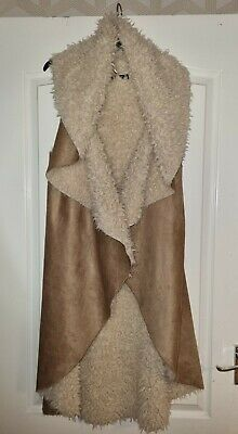 £4.99 • Buy *boohoo* Gorgeous Brown Faux Suede Fluffy Sleeveless Drape Long Jacket Gilet