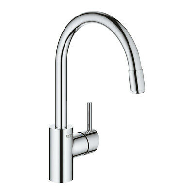 £129.76 • Buy Grohe 32663003 Concetto Single-lever Sink Mixer Tap, Pull-out Spray, Chrome New