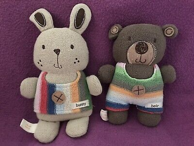 £12.99 • Buy Mamas And & Papas I'm All Knit Bunny Rabbit & Teddy Bear Soft Toy Knitted Chime