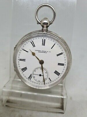 £85 • Buy Antique Solid Silver Gents Langdon Davies & Co Pocket Watch 1898 Working Ref1840