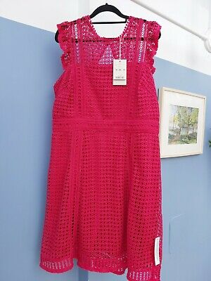 £12.60 • Buy Monsoon Berry Red Pink Crochet Dress Size 18 New With Tags Nwt