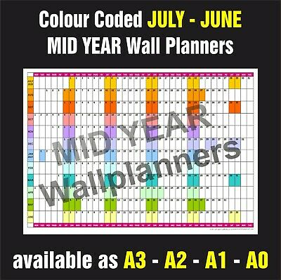 £8.99 • Buy MID YEAR WALL PLANNER Organiser Event Planner July - June All Years & Sizes