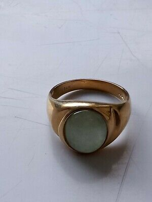 £250 • Buy Mens Jade Vintage Signet Ring Gold 9ct. Gold With Pale Green Stone