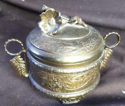 AU86.79 • Buy Antique Old Aesthetic Movement Victorian Period Brass Covered Box Birds Flowers