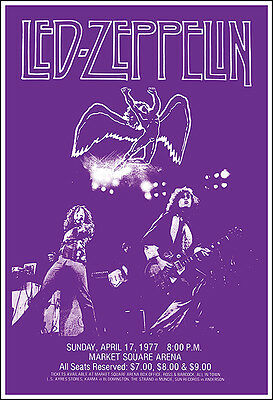 $12.99 • Buy LED ZEPPELIN 1977 Indianapolis Concert Poster Market Square