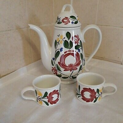 £49 • Buy PORTMEIRION WELSH DRESSER  Coffee Pot Plus 2 Small Cups By ANGHARAD MENNA 1992