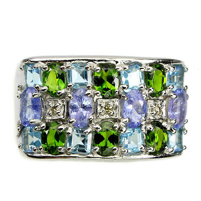 £1.63 • Buy Unheated Oval Tanzanite Chrome Diopside Gems 925 Sterling Silver Ring Size 9