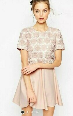 AU7 • Buy ASOS Pink Crochet Overlay Pink Dress Size 14 Excellent Condition