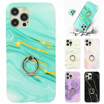 AU18.58 • Buy For IPhone 12 Pro Max 11 8 7 Gold Glitter Marble Texture Ring Holder Phone Case