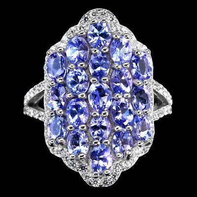 £0.75 • Buy Unheated Oval Tanzanite 4x3mm Cz White Gold Plate 925 Sterling Silver Ring 6.5
