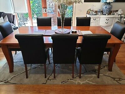 AU549 • Buy Dining Table With Eight Leather Comfortable Chairs Solid Tas Blackwood Pick Up