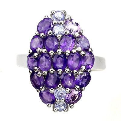£0.72 • Buy Unheated Oval Purple Amethyst 4x3mm Tanzanite 925 Sterling Silver Ring Size 9