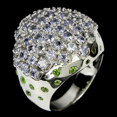 £0.72 • Buy Unheated Round Blue Tanzanite Chrome Diopside 925 Sterling Silver Ring Size 8