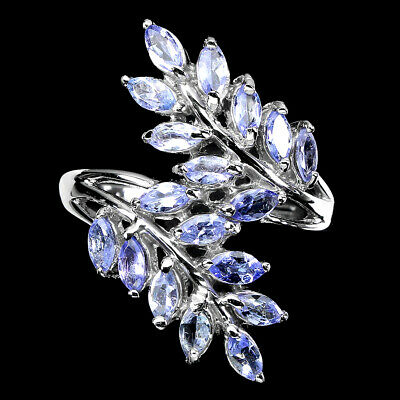 £0.72 • Buy Unheated Marquise Tanzanite 4x2mm White Gold Plate 925 Sterling Silver Ring Sz 9